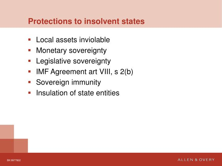 Protections to insolvent states