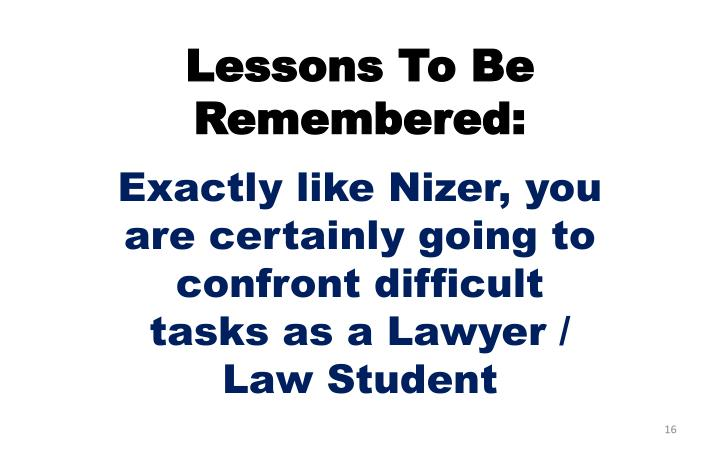Lessons To Be Remembered: