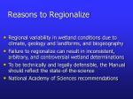 reasons to regionalize