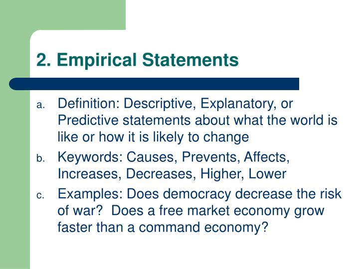 2. Empirical Statements
