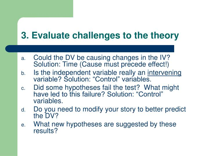 3. Evaluate challenges to the theory