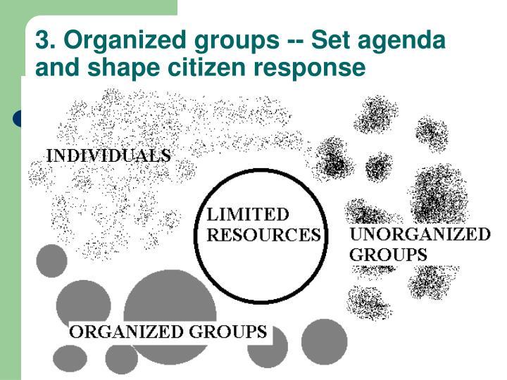 3. Organized groups -- Set agenda and shape citizen response