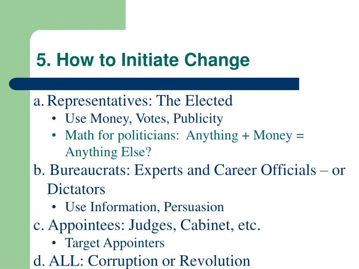 5. How to Initiate Change