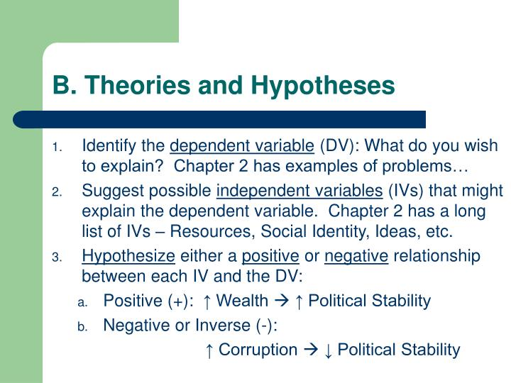 B. Theories and Hypotheses