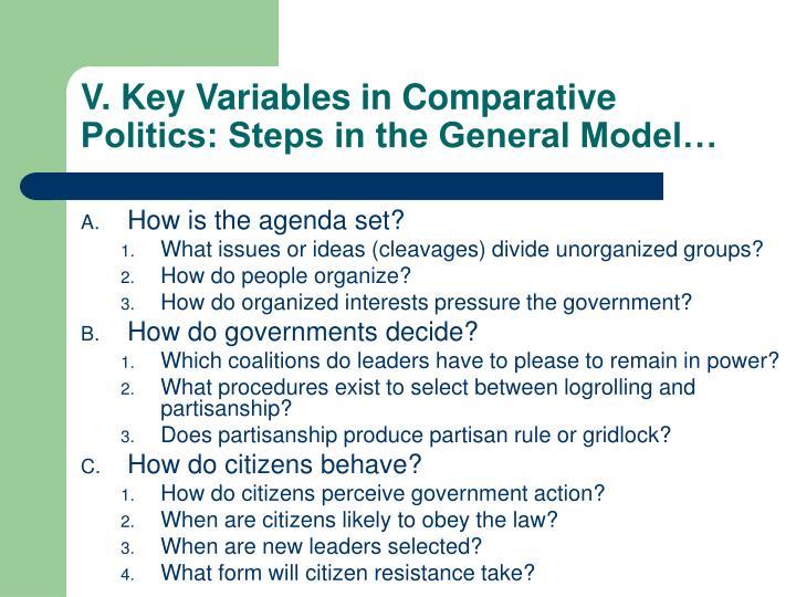 V. Key Variables in Comparative Politics: Steps in the General Model…