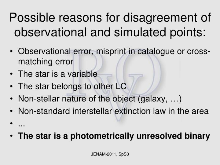 Possible reasons for disagreement of observational and simulated points: