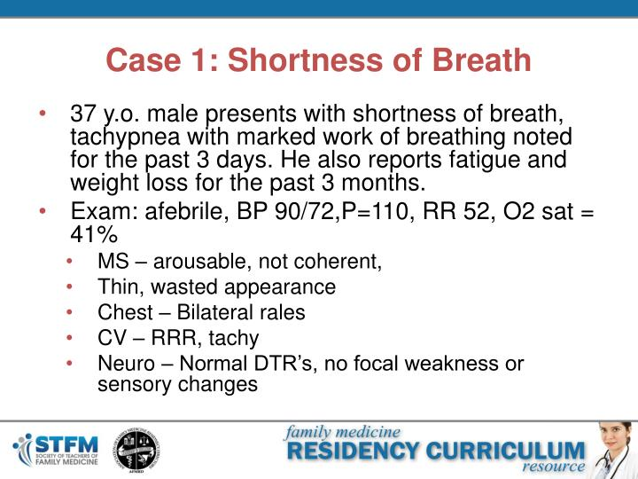 case study patient with shortness of breath Case study patient with copd 1 by nawal galet 2 js is a 74 year old man who presents to your family medicine office with his wife complaining of shortness of breath and fever.