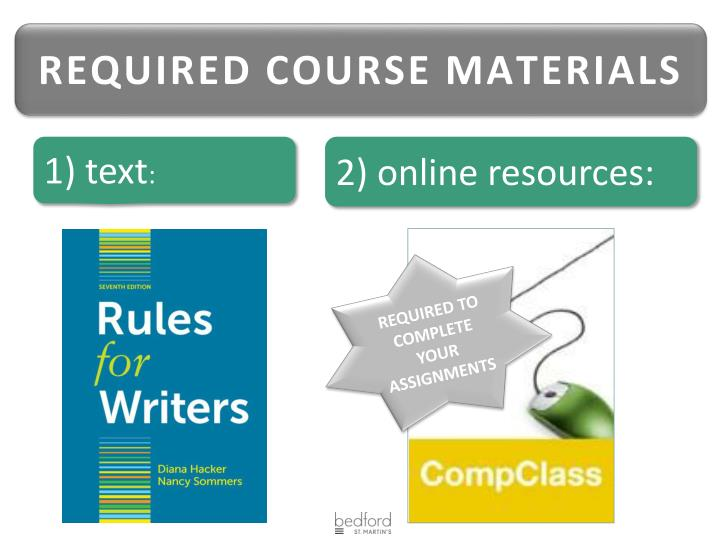 REQUIRED COURSE MATERIALS