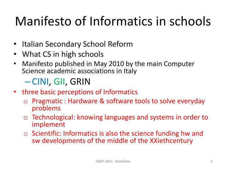 Manifesto of informatics in schools
