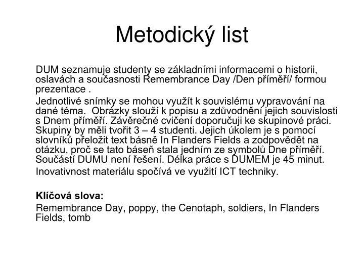 Metodick list