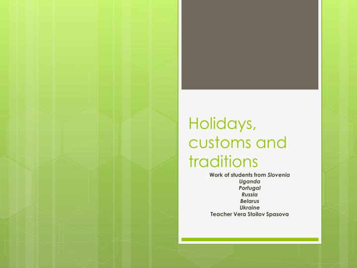 holidays customs and traditions n.