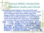 ii practical abilities attained from translation studies and criticism