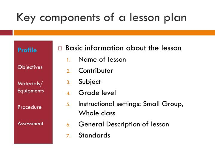 Key components of a lesson plan