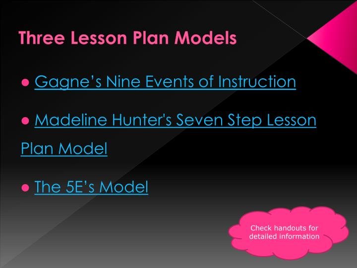 Three Lesson Plan Models