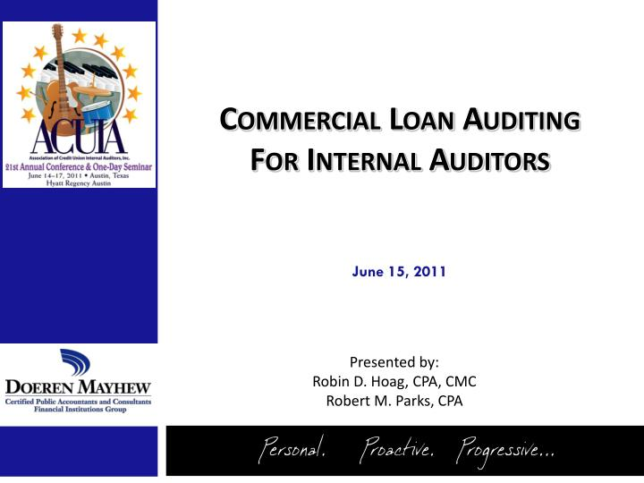 commercial loan auditing for internal auditors n.