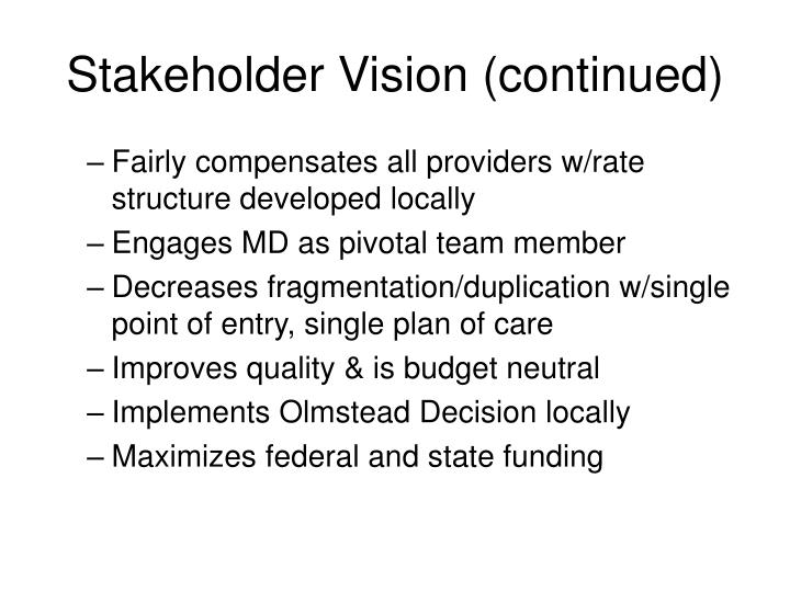 Stakeholder Vision (continued)