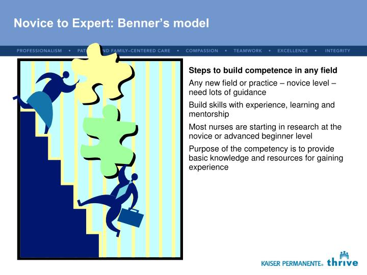 benner novice to expert To expert patricia benner p benner, 'from novice to expert', american journal of nursing, mar, 1982, pp402-7 skill, one passes through five levels of proficiency: novice advanced beginner competent proficient {[ documentbookmarktime ]} nsg 400 from novice to expert (brenner.