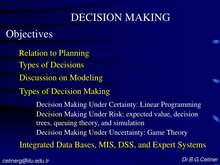 role of linear programming in managerial decision making