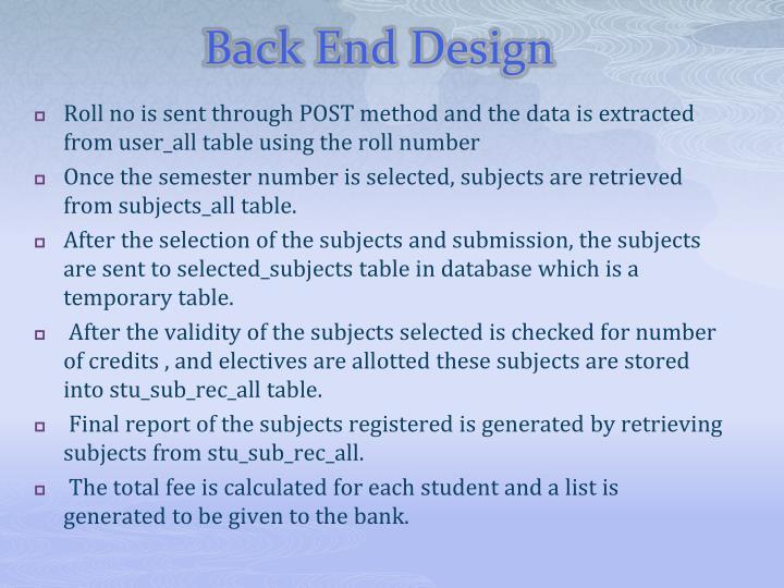 Back End Design