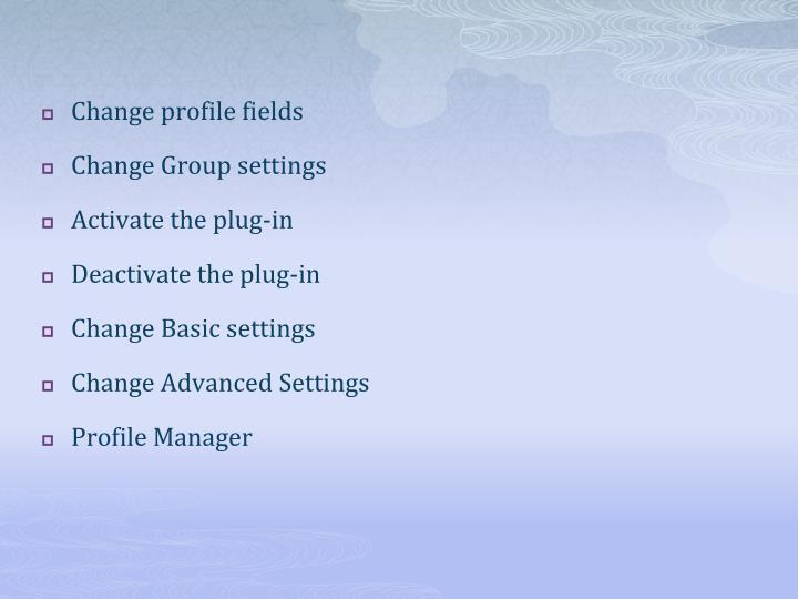 Change profile fields