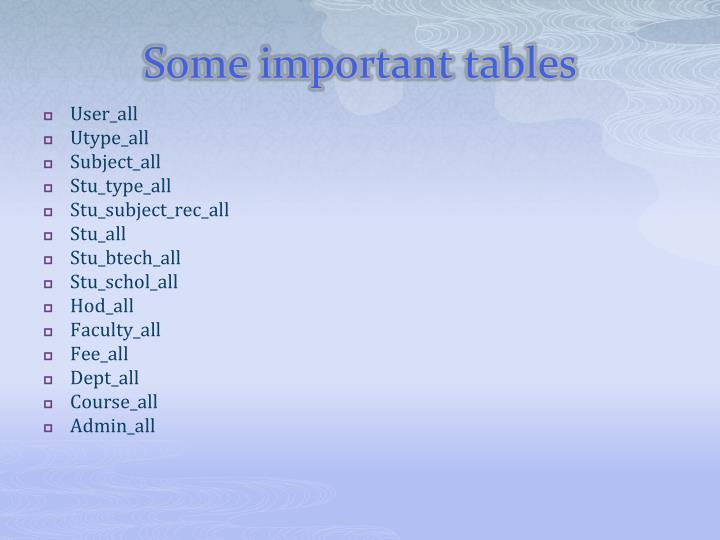 Some important tables