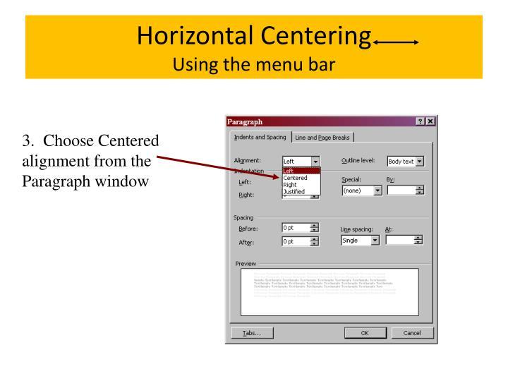 Horizontal Centering