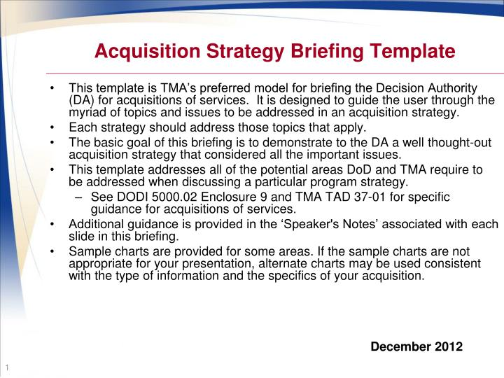 Ppt Acquisition Strategy Briefing Template Powerpoint Presentation
