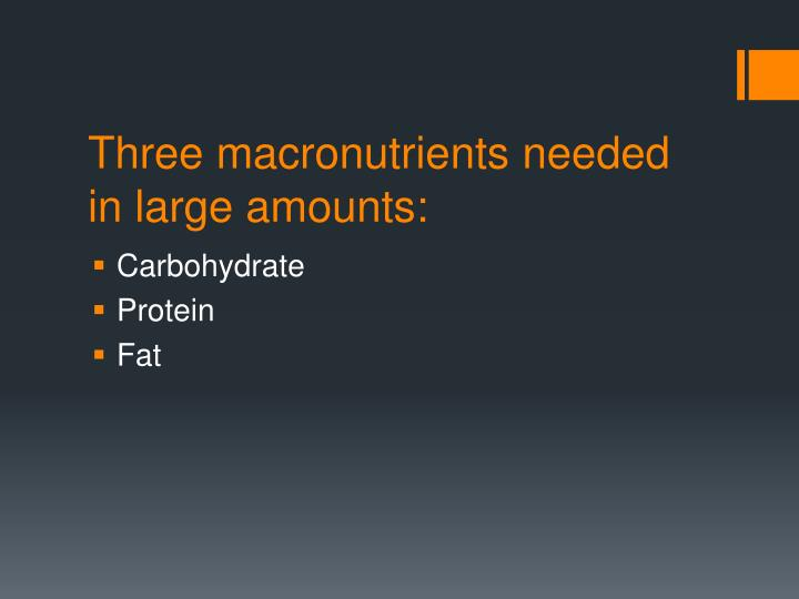 Three macronutrients needed in large amounts