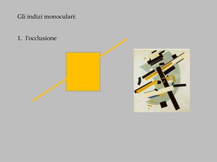 Gli indizi monoculari: