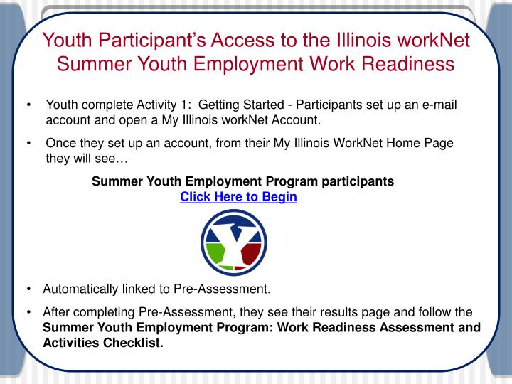 PPT Illinois WorkNet Summer Youth Employment Program PowerPoint
