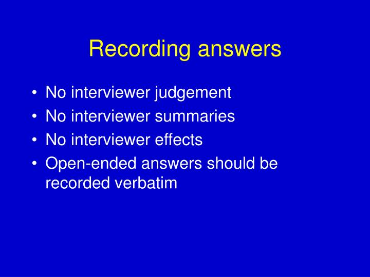 Recording answers