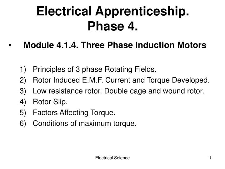 electrical apprenticeship phase 4 n.