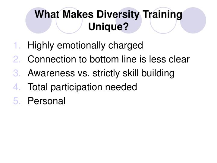 What Makes Diversity Training Unique?