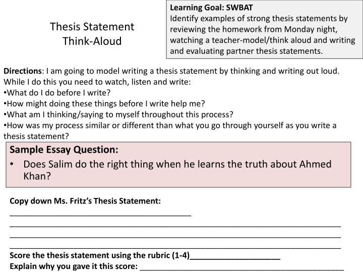 thinking aloud essay Finally, read your essay aloud with a pencil or pen in hand and make notes about what you think might need to be changed while you are reading through the entire essay, don't stop to rewrite the parts, but do underline or circle parts that need to be changed or examined more closely.
