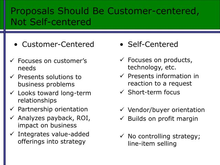 Proposals Should Be Customer-centered, Not Self-centered
