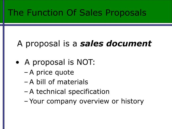 The Function Of Sales Proposals
