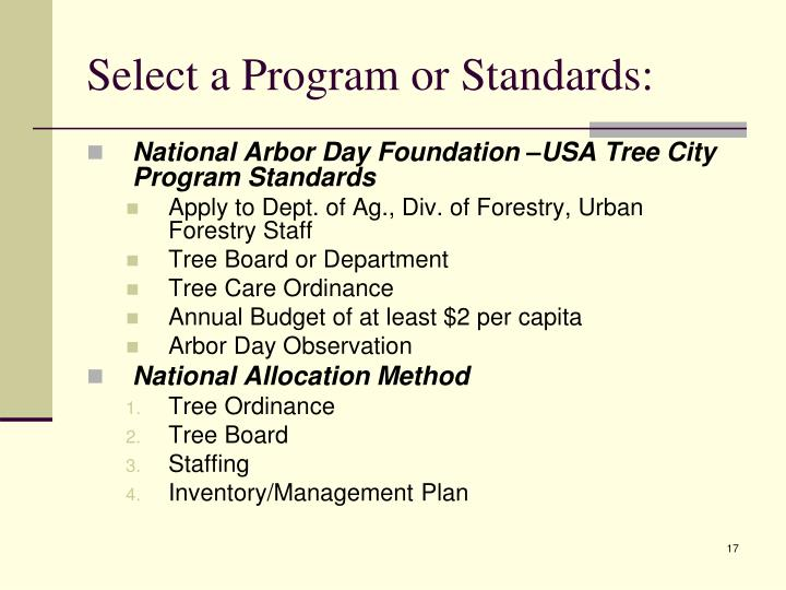 Select a Program or Standards: