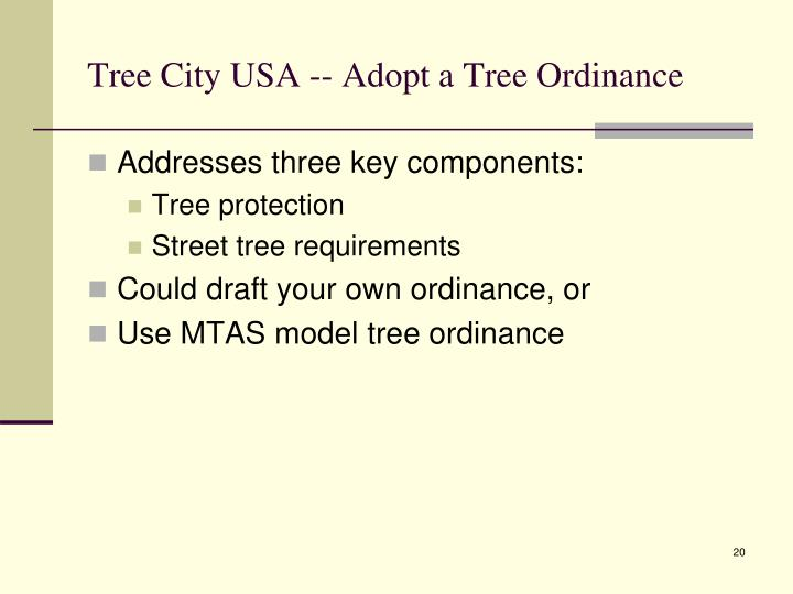 Tree City USA -- Adopt a Tree Ordinance
