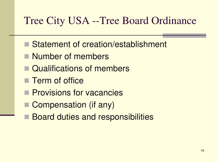 Tree City USA --Tree Board Ordinance