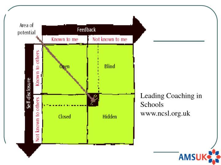 Leading Coaching in Schools        www.ncsl.org.uk