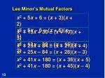 lee minor s mutual factors
