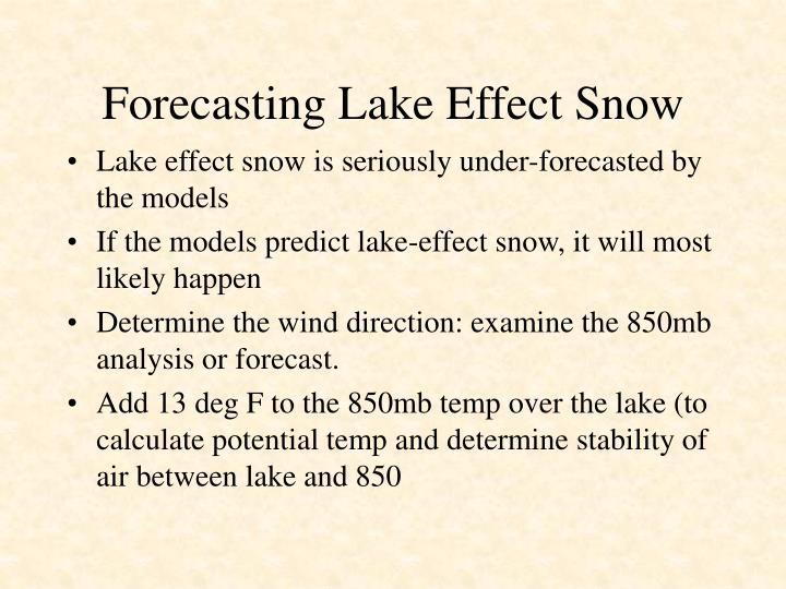 Forecasting Lake Effect Snow