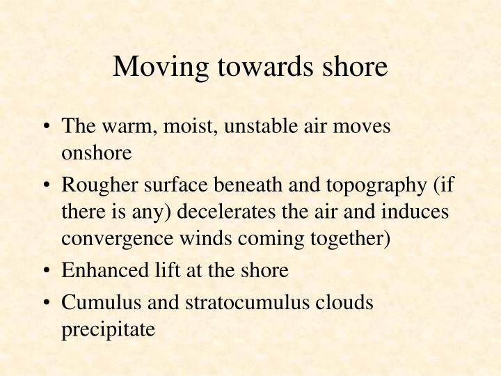 Moving towards shore