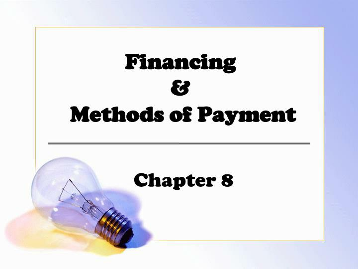 financing methods of payment n.