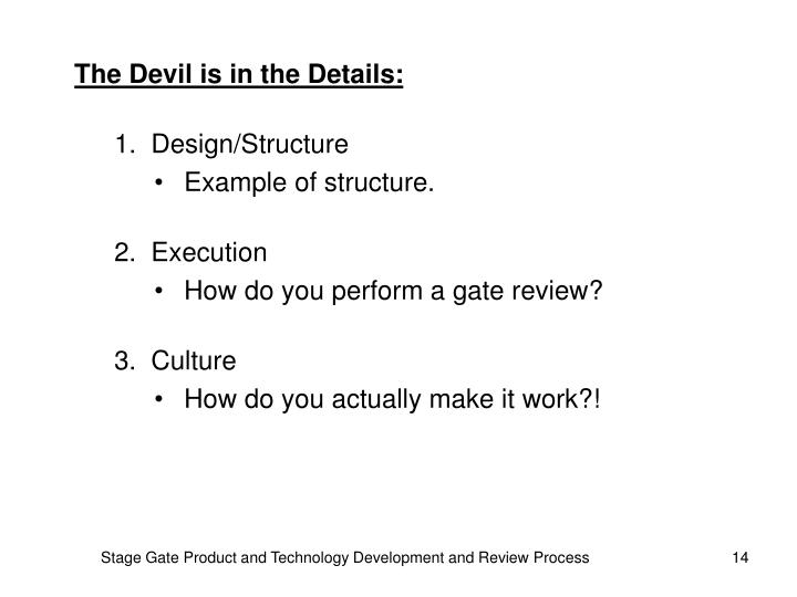 The Devil is in the Details: