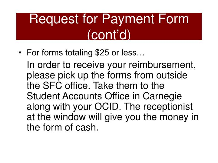 Request for Payment Form (cont'd)