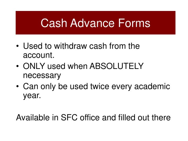 Cash Advance Forms