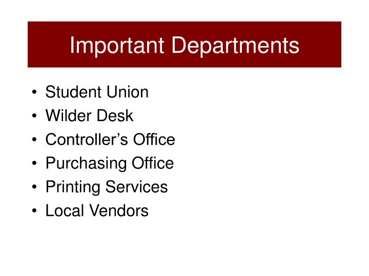 Important Departments