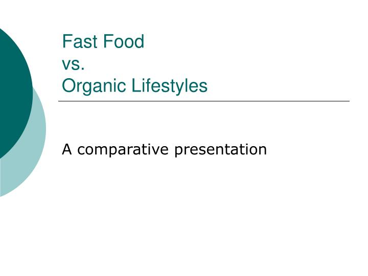 Fast food vs organic lifestyles