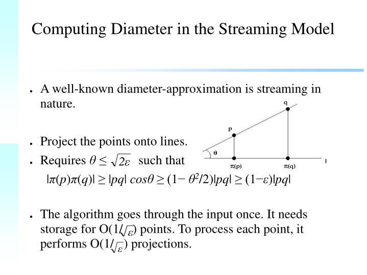 Computing Diameter in the Streaming Model